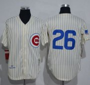 Wholesale Cheap Mitchell And Ness 1969 Cubs #26 Billy Williams Cream Strip Throwback Stitched MLB Jersey