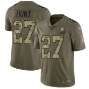 Wholesale Cheap Nike Browns #27 Kareem Hunt Olive/Camo Men's Stitched NFL Limited 2017 Salute To Service Jersey