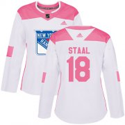 Wholesale Cheap Adidas Rangers #18 Marc Staal White/Pink Authentic Fashion Women's Stitched NHL Jersey