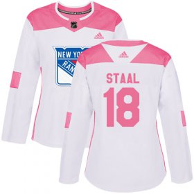 Wholesale Cheap Adidas Rangers #18 Marc Staal White/Pink Authentic Fashion Women\'s Stitched NHL Jersey