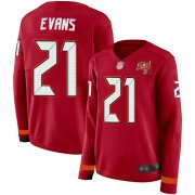 Wholesale Cheap Nike Buccaneers #21 Justin Evans Red Team Color Women's Stitched NFL Limited Therma Long Sleeve Jersey