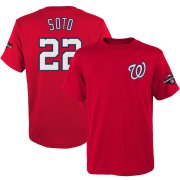 Wholesale Cheap Washington Nationals #22 Juan Soto Majestic Youth 2019 World Series Champions Name & Number T-Shirt Red
