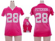Wholesale Cheap Nike Vikings #28 Adrian Peterson Pink Draft Him Name & Number Top Women's Stitched NFL Elite Jersey