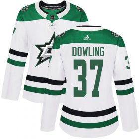 Cheap Adidas Stars #37 Justin Dowling White Road Authentic Women\'s Stitched NHL Jersey