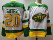 Wholesale Cheap Men's Minnesota Wild #20 Ryan Suter 2021 White Retro Stitched NHL Jersey