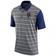 Wholesale Cheap Men's New York Mets Nike Gray Dri-FIT Stripe Polo