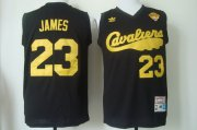 Wholesale Cheap Men's Cleveland Cavaliers #23 LeBron James 2017 The NBA Finals Patch 2009 Black Hardwood Classics Soul Swingman Throwback Jersey