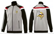 Wholesale Cheap NFL Minnesota Vikings Team Logo Jacket Grey