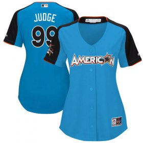 Wholesale Cheap Yankees #99 Aaron Judge Blue 2017 All-Star American League Women\'s Stitched MLB Jersey