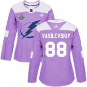 Cheap Adidas Lightning #88 Andrei Vasilevskiy Purple Authentic Fights Cancer Women's 2020 Stanley Cup Champions Stitched NHL Jersey