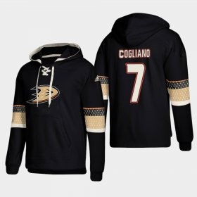 Wholesale Cheap Anaheim Ducks #7 Andrew Cogliano Black adidas Lace-Up Pullover Hoodie