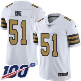Wholesale Cheap Nike Saints #51 Cesar Ruiz White Men\'s Stitched NFL Limited Rush 100th Season Jersey