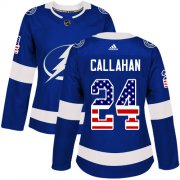 Wholesale Cheap Adidas Lightning #24 Ryan Callahan Blue Home Authentic USA Flag Women's Stitched NHL Jersey