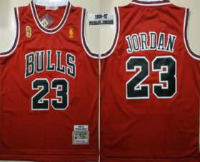 Wholesale Cheap Men\'s Chicago Bulls #23 Michael Jordan 1996-97 Red With Champions Patch Hardwood Classics Soul Swingman Throwback Jersey