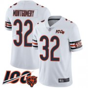 Wholesale Cheap Nike Bears #32 David Montgomery White Men's Stitched NFL 100th Season Vapor Limited Jersey