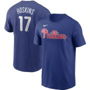 Wholesale Cheap Philadelphia Phillies #17 Rhys Hoskins Nike Name & Number T-Shirt Royal