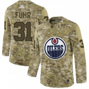 Wholesale Cheap Adidas Oilers #31 Grant Fuhr Camo Authentic Stitched NHL Jersey