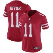 Wholesale Cheap Nike 49ers #11 Brandon Aiyuk Red Team Color Women's Stitched NFL Vapor Untouchable Limited Jersey