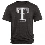 Wholesale Cheap Texas Rangers Fanatics Apparel Platinum Collection Tri-Blend T-Shirt Black