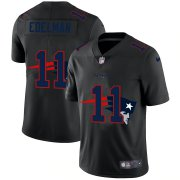 Wholesale Cheap New England Patriots #11 Julian Edelman Men's Nike Team Logo Dual Overlap Limited NFL Jersey Black