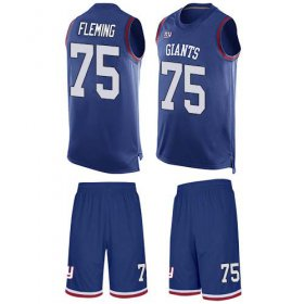 Wholesale Cheap Nike Giants #75 Cameron Fleming Royal Blue Team Color Men\'s Stitched NFL Limited Tank Top Suit Jersey