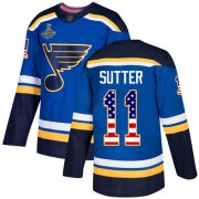 Wholesale Cheap Adidas Blues #11 Brian Sutter Blue Home Authentic USA Flag Stanley Cup Champions Stitched NHL Jersey