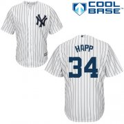 Wholesale Cheap Yankees #34 J.A. Happ White Strip New Cool Base Stitched MLB Jersey