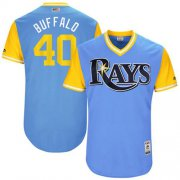 "Wholesale Cheap Rays #40 Wilson Ramos Light Blue ""Buffalo"" Players Weekend Authentic Stitched MLB Jersey"