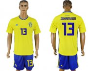 Wholesale Cheap Sweden #13 Johansson Home Soccer Country Jersey