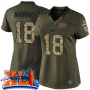 Wholesale Cheap Nike Colts #18 Peyton Manning Green Super Bowl XLI Women's Stitched NFL Limited Salute to Service Jersey
