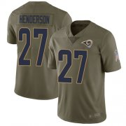 Wholesale Cheap Nike Rams #27 Darrell Henderson Olive Men's Stitched NFL Limited 2017 Salute To Service Jersey