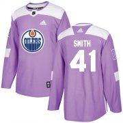 Wholesale Cheap Adidas Oilers #41 Mike Smith Purple Authentic Fights Cancer Stitched NHL Jersey