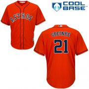 Wholesale Cheap Astros #21 Zack Greinke Orange New Cool Base Stitched MLB Jersey