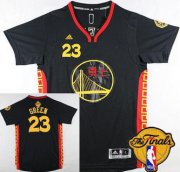 Wholesale Cheap Men's Golden State Warriors #23 Draymond Green Chinese Black Fashion 2017 The NBA Finals Patch Jersey