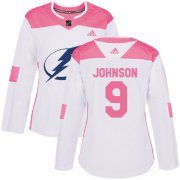 Wholesale Cheap Adidas Lightning #9 Tyler Johnson White/Pink Authentic Fashion Women's Stitched NHL Jersey