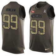 Wholesale Cheap Nike 49ers #99 Javon Kinlaw Green Men's Stitched NFL Limited Salute To Service Tank Top Jersey