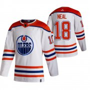 Wholesale Cheap Edmonton Oilers #18 James Neal White Men's Adidas 2020-21 Reverse Retro Alternate NHL Jersey