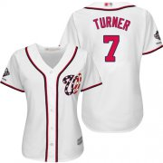 Wholesale Cheap Nationals #7 Trea Turner White Home 2019 World Series Champions Women's Stitched MLB Jersey