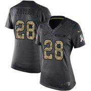 Wholesale Cheap Nike Colts #28 Jonathan Taylor Black Women's Stitched NFL Limited 2016 Salute to Service Jersey