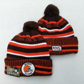 Wholesale Cheap Browns Team Logo Orange Brown 100th Season Pom Knit Hat YD