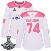 Wholesale Cheap Adidas Capitals #74 John Carlson White/Pink Authentic Fashion Stanley Cup Final Champions Women's Stitched NHL Jersey