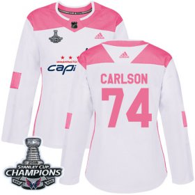 Wholesale Cheap Adidas Capitals #74 John Carlson White/Pink Authentic Fashion Stanley Cup Final Champions Women\'s Stitched NHL Jersey