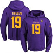 Wholesale Cheap Nike Vikings #19 Adam Thielen Purple(Gold No.) Name & Number Pullover NFL Hoodie