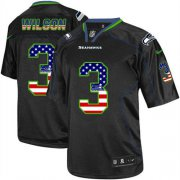 Wholesale Cheap Nike Seahawks #3 Russell Wilson Black Men's Stitched NFL Elite USA Flag Fashion Jersey
