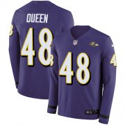 Wholesale Cheap Nike Ravens #48 Patrick Queen Purple Team Color Men's Stitched NFL Limited Therma Long Sleeve Jersey
