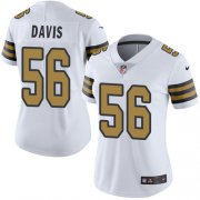Wholesale Cheap Nike Saints #56 DeMario Davis White Women's Stitched NFL Limited Rush Jersey