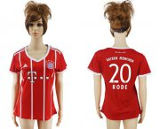 Wholesale Cheap Women's Bayern Munchen #20 Rode Home Soccer Club Jersey