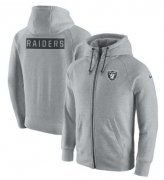 Wholesale Cheap Men's Las Vegas Raiders Nike Ash Gridiron Gray 2.0 Full-Zip Hoodie
