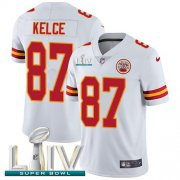 Wholesale Cheap Nike Chiefs #87 Travis Kelce White Super Bowl LIV 2020 Youth Stitched NFL Vapor Untouchable Limited Jersey