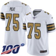 Wholesale Cheap Nike Saints #75 Andrus Peat White Men's Stitched NFL Limited Rush 100th Season Jersey